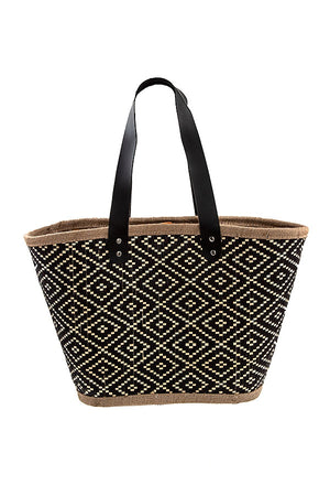 Diamond Woven Straw Pattern Tote Bag