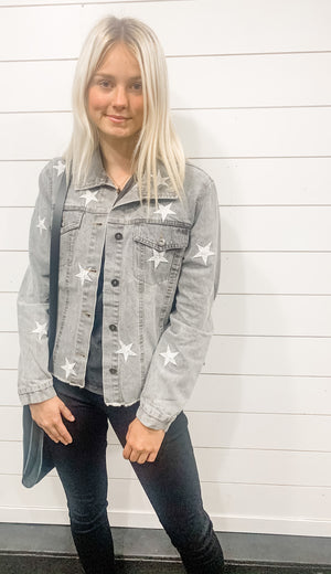 Vintage Star-Embroidered Denim Jacket