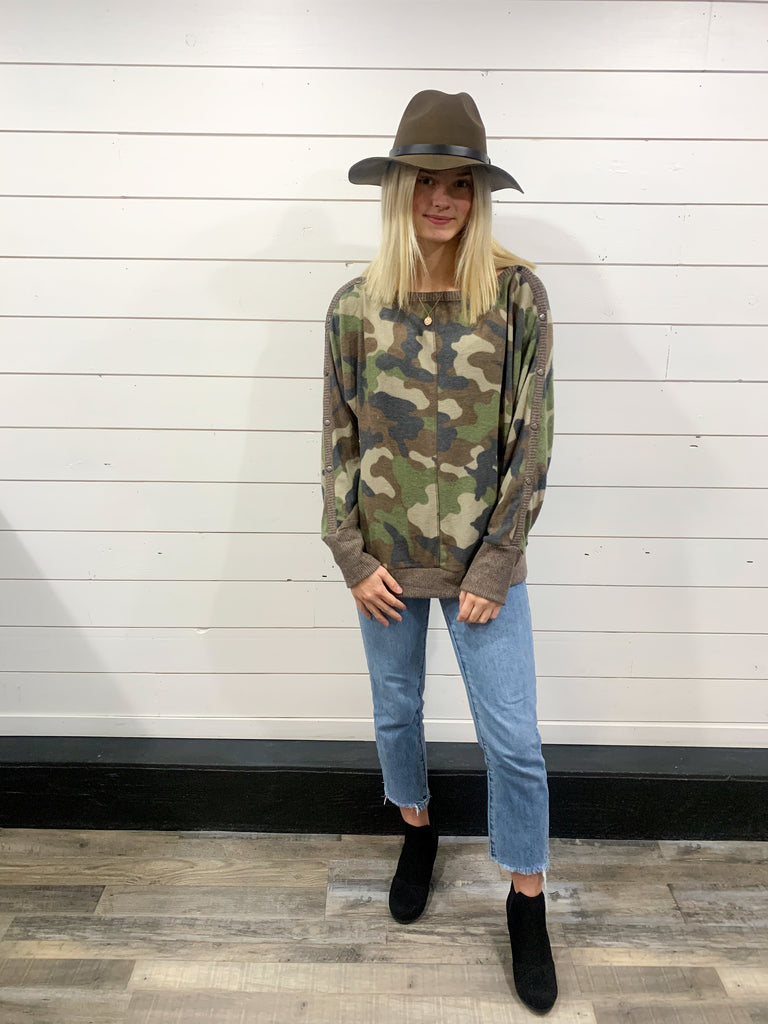 Brushed Camo Boat-Neck Top