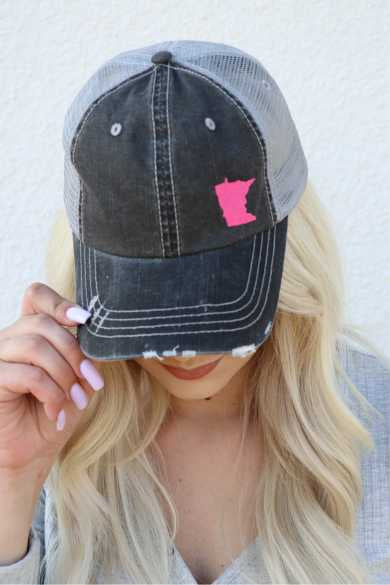 Pink Embroidered State of Minnesota Trucker Hat