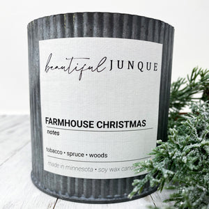 Farmhouse Christmas Tin Candle-Large
