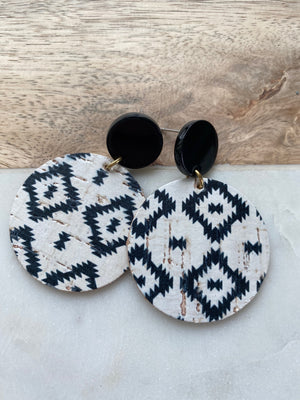 Black and White Aztec Cork Post Earrings