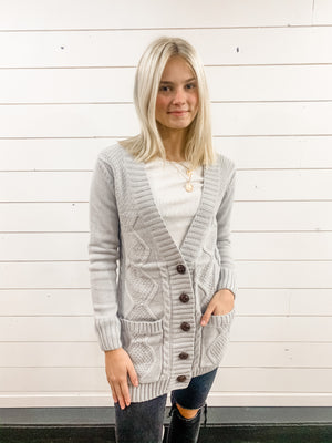 Gray Long Button Cardigan