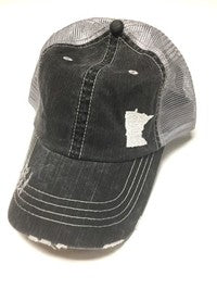White Embroidered State of Minnesota Trucker Hat