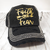 Faith over Fear Washed Vintage Ballcap
