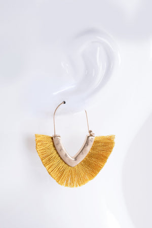 Yellow V-Shape Tassel Earrings