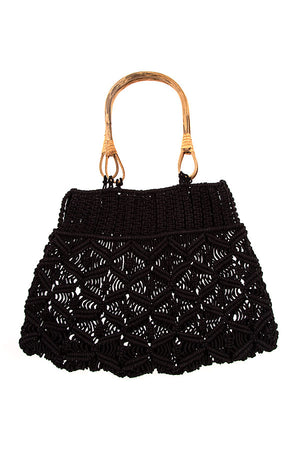 Wood-Handled Black Crochet Bag