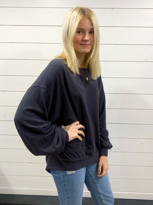 Navy Oversized Comfort Top