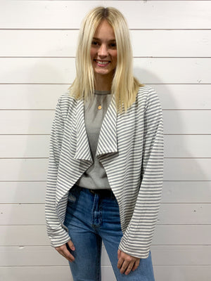 Gray Striped Knit Jacket