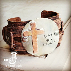 Bent Not Broken Distressed Leather Cuff Bracelet