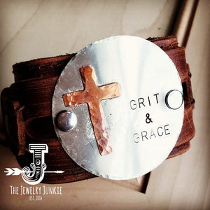 Grit and Grace Distressed Leather Cuff