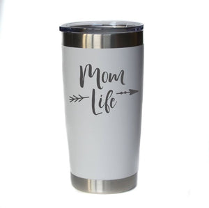 20 oz Mom Life Engraved Mug (Assorted Colors)