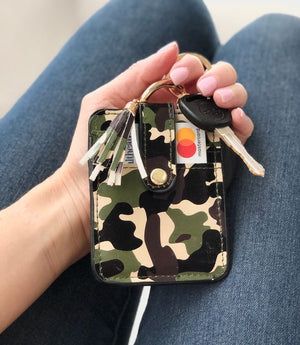 Camouflage Credit Card Wallet Keychain