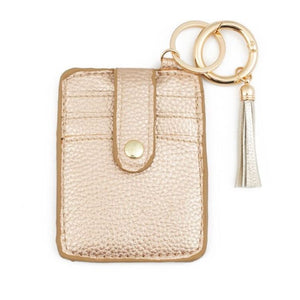 Rose Gold Credit Card Wallet Keychain