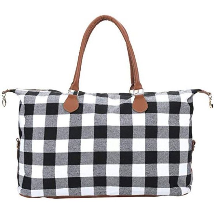 Black and White Buffalo Plaid Weekender Bag