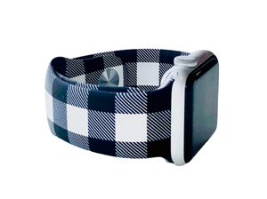 Black and White Buffalo Plaid Apple Watch Band favorite_border