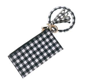 Black and White Buffalo Plaid Keychain Bangle and Clutch