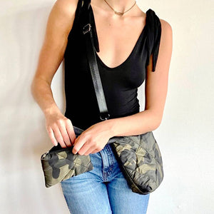 Quilted Camo Crossbody with Matching Zipper Pouch