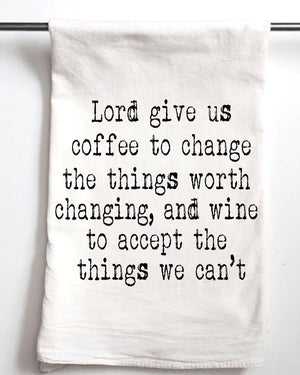 Coffee Wine Serenity Prayer Tea Towel