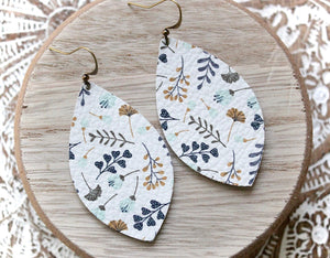 White Floral Print Teardrop Earrings