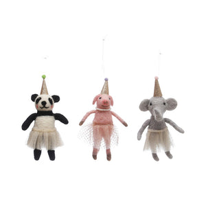 Wool Felt Party Animal Ornaments