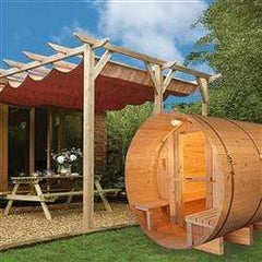 Outdoor and Indoor Western Red Cedar Barrel Sauna with Front Porch Canopy - 4.5 kW ETL Certified - 5 Person
