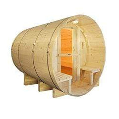 Outdoor or Indoor White Finland Pine Wet Dry Barrel Sauna - Front Porch Canopy - 9 kW ETL Certified Heater - 8 Person
