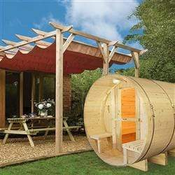 Outdoor or Indoor White Finland Pine Wet Dry Barrel Sauna - Front Porch Canopy - 9 kW ETL Certified Heater - 8 Person - SaunaTown.com