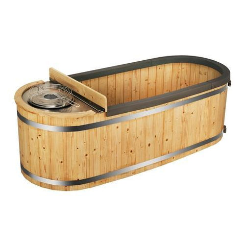 Natural Pine Hot Tub with Charcoal Stove - 2 Person - 132 Gallon - SaunaTown.com