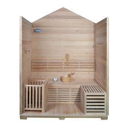 Outdoor Canadian Red Cedar Wood Wet Dry Sauna - 4 Person - 4.5 kW ETL Electrical Heater - Stone Finish - SaunaTown.com