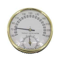 Stainless Steel Thermo-Hygrometer - Temperature Range - 50F to 250F - SaunaTown.com