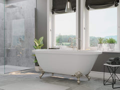 Cambridge Plumbing 59 Inch Double Ended Clawfoot Tub Deck Holes Acrylic Bath Tub ADE60-684D-PKG-BN-7DH - SaunaTown.com