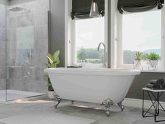 Cambridge Plumbing 59 Inch Double Ended Clawfoot Tub No Holes Acrylic Bath Tub ADE60-684D-PKG-BN-7DH - SaunaTown.com