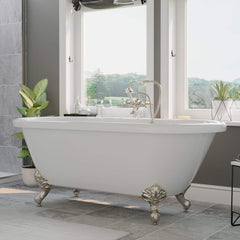 Cambridge Plumbing 59 Inch Double Ended Clawfoot Tub No Holes Acrylic Bath Tub ADEP-398463-PKG-BN-NH - SaunaTown.com