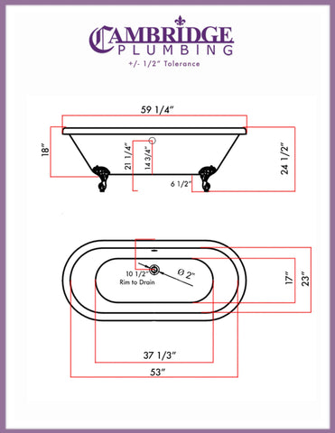 Cambridge Plumbing 59 Inch Double Ended Clawfoot Tub No Holes Acrylic Bath Tub ADEP60-398684-PKG-BN-NH - SaunaTown.com