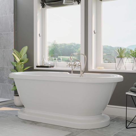Cambridge Plumbing 59 Inch Double Ended Pedestal Tub Acrylic Bath Tub ADES-PED-463D-6-PKG-BN-7DH - SaunaTown.com