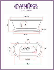 Cambridge Plumbing 59 Inch Double Ended Pedestal Tub Acrylic Bath Tub ADES-PED-463D-6-PKG-BN-7DH