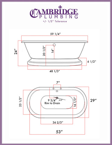 Cambridge Plumbing 59 Inch Double Ended Pedestal Tub Deck Holes Acrylic Bath Tub ADES-684D-PKG-BN-7DH - SaunaTown.com