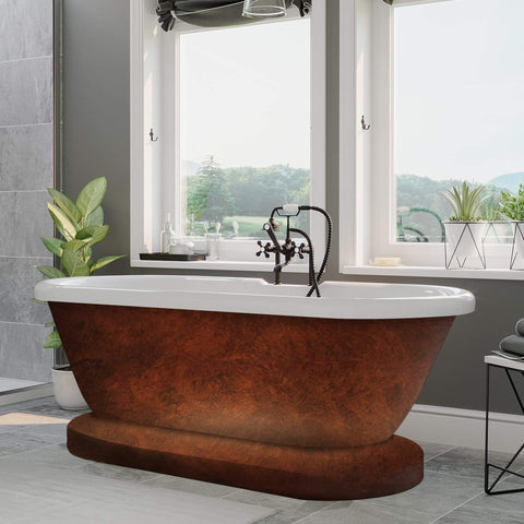 Cambridge Plumbing 59 Inch Double Ended Pedestal Tub Deckmount Holes Acrylic Bath Tub ADE60-DH-CP - SaunaTown.com
