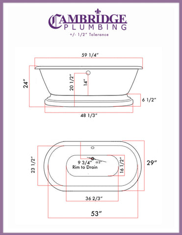 Cambridge Plumbing 59 Inch Double Ended Pedestal Tub No Faucet Holes Acrylic Bath Tub ADE60-NH-CP - SaunaTown.com