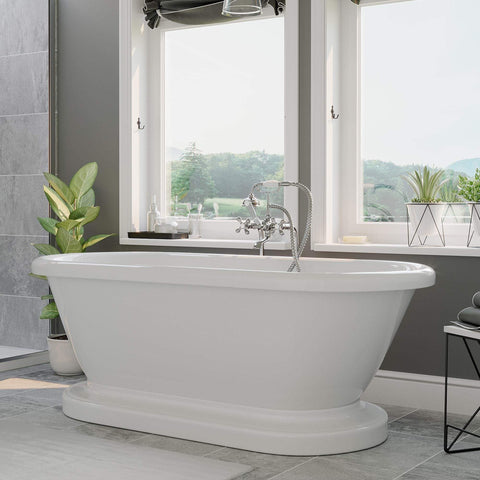 Cambridge Plumbing 59 Inch Double Ended Pedestal Tub No Holes Acrylic Tub ADEP-398463-PKG-CP-NH - SaunaTown.com