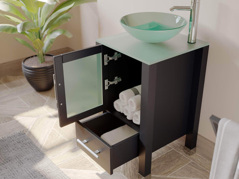 Cambridge Plumbing 18 Inch Espresso Wood and Glass Vessel Sink Vanity Set 8137B - SaunaTown.com