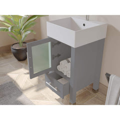 Cambridge Plumbing 18 Inch Gray Wood and Porcelain Vessel Sink Vanity Set 8137G