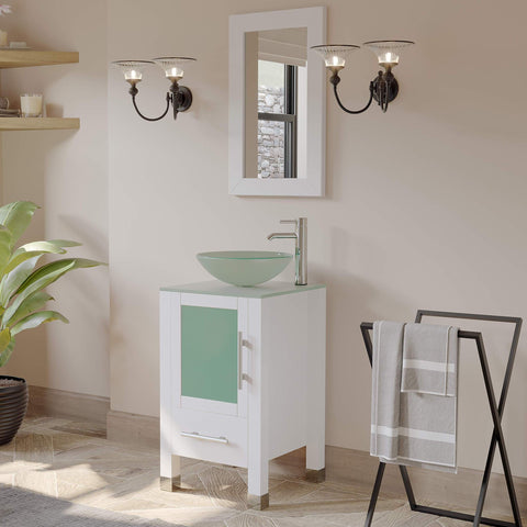 Cambridge Plumbing 18 Inch White Wood and Glass Vessel Sink Vanity Set 8137BW - SaunaTown.com