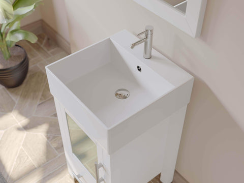 Cambridge Plumbing 18 Inch White Wood and Porcelain Vessel Sink Vanity Set 8137W - SaunaTown.com