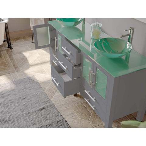 Cambridge Plumbing  63 Inch Gray Wood and Glass Vessel Sink Double Vanity Set – 8119BG - SaunaTown.com