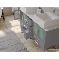 Cambridge Plumbing 63 Inch Gray Wood and Porcelain Vessel Sink Double Vanity Set – 8119G