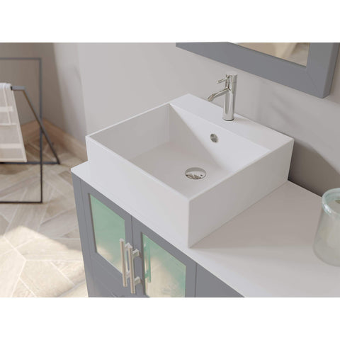 Cambridge Plumbing 63 Inch Gray Wood and Porcelain Vessel Sink Double Vanity Set – 8119G - SaunaTown.com