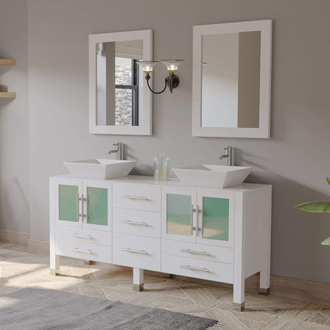 Cambridge Plumbing 63 Inch White Oak Wood and Trim Porcelain Vessel Sink Double Vanity Set 8119WF-CP - SaunaTown.com
