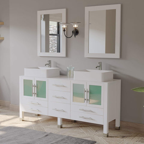 Cambridge Plumbing 63 Inch White Wood and Porcelain Vessel Sink Double Vanity Set – 8119W - SaunaTown.com